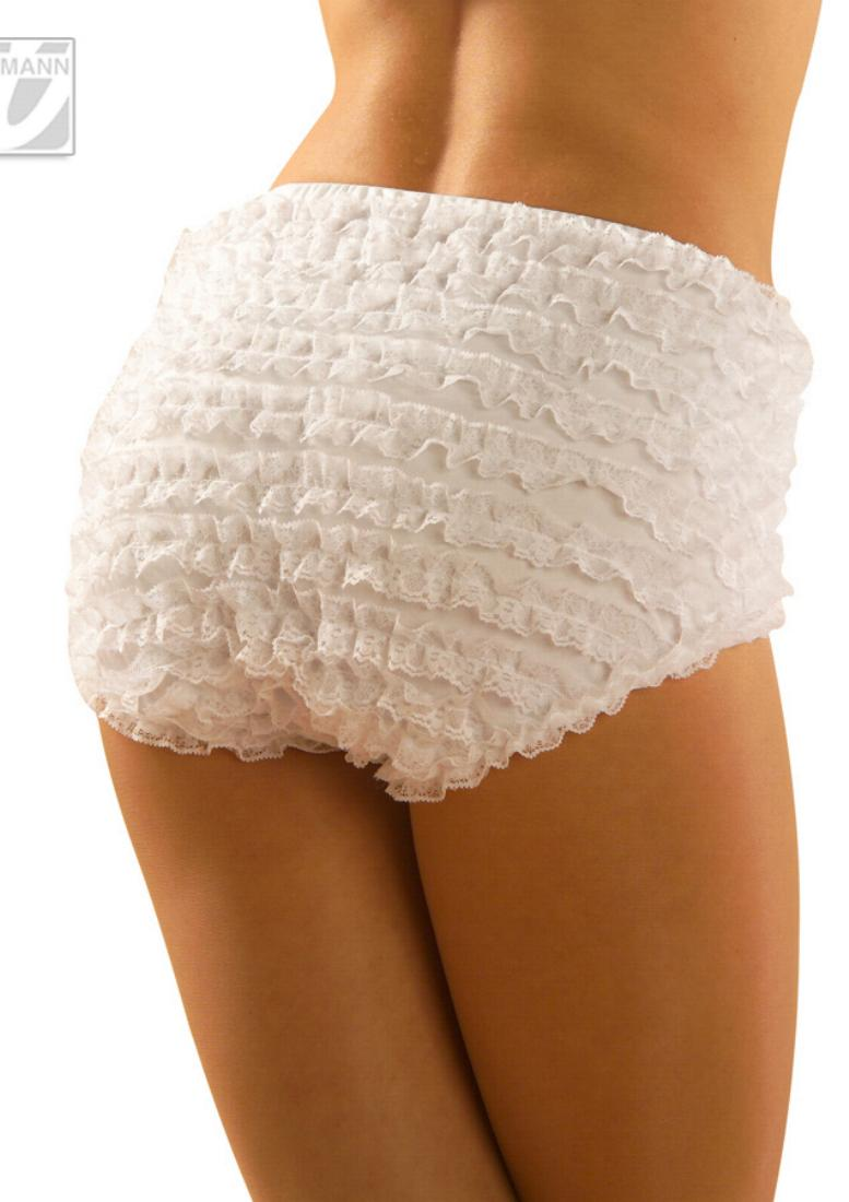Rumba Ruffles panty,black or white with lace, Ladies S, m ...